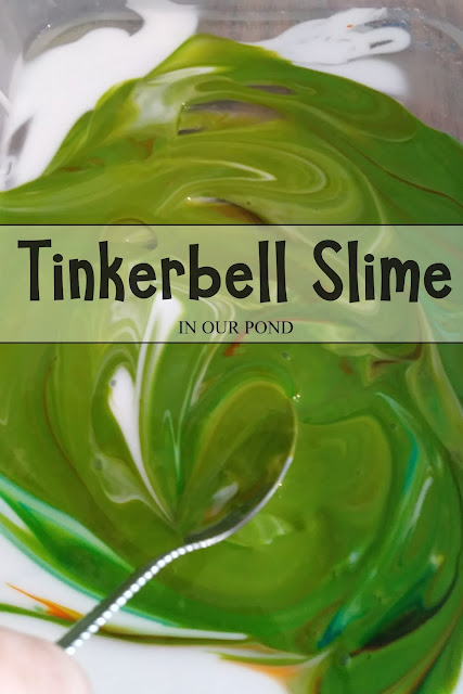 Kid-Safe Tinkerbell Slime from In Our Pond  #diy #craft #slime #kidscrafts #disney #tinkerbell