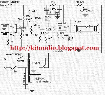 Audio Kit Fender 5F1 Schematic Tube 12AX7 6V6 Power Amplifier