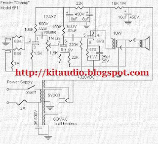 Audio kit: Fender 5F1 Schematic Tube 12AX7 + 6V6 Power