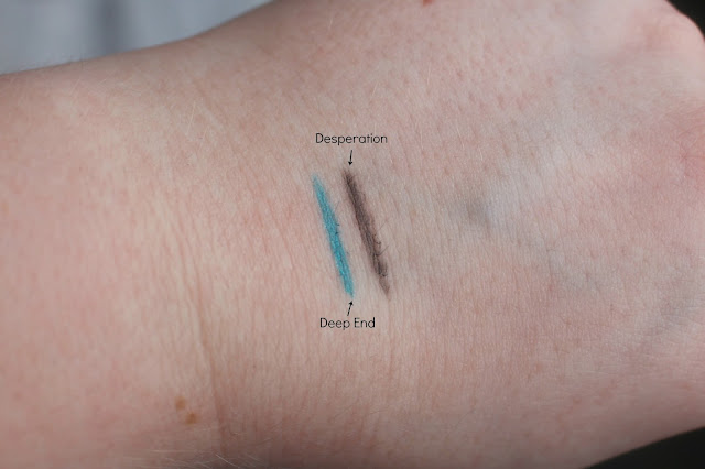 Swatches of the 24/7 Glide-on Pencils in Desperation and Deep End from the Urban Decay Goodie Bag