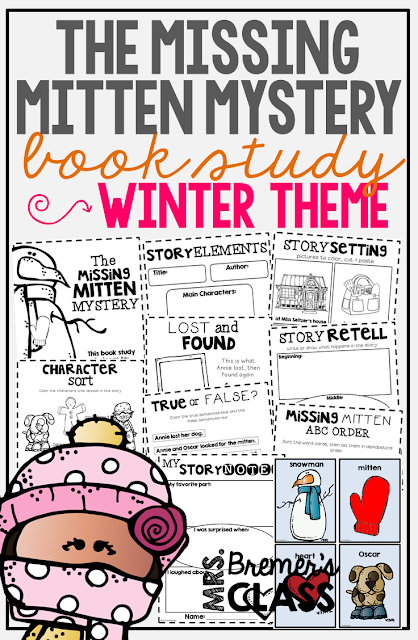 The Missing Mitten Mystery book study companion activities. Perfect for a winter theme in the classroom! Packed with fun ideas and guided reading literacy activities. Common Core aligned. K-2. #mittens #winter #bookstudy #bookstudies #literacy #guidedreading #1stgrade #2ndgrade #kindergarten #bookcompanion #bookcompanions #1stgradereading #2ndgradereading #kindergartenreading #picturebookactivities #winterbooks