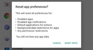 Setel Ulang Semua Preferensi Aplikasi