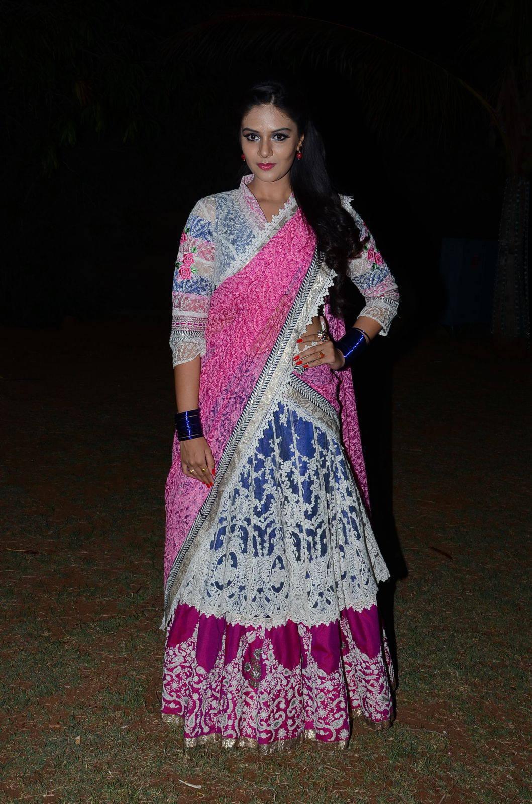 Glamours Telugu TV Anchor Srimukhi Photos In Pink Half Saree At Movie Audio Launch