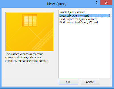 Select crosstab query wizard