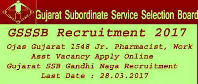 GSSB Recruitment Job Notification 2017: Apply for 1548 new Govt Jobs 2017