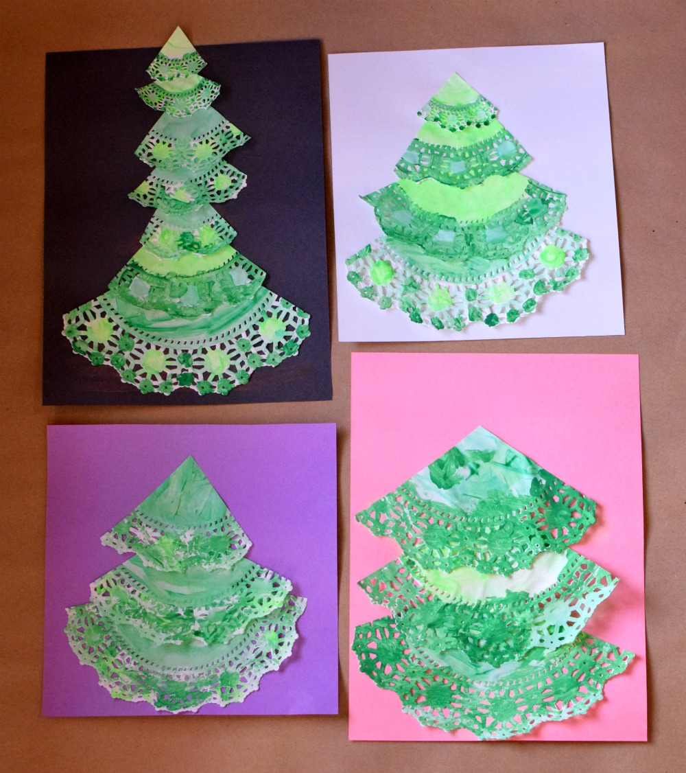 Paper doily christmas trees what can we do with paper and glue paper doily christmas tree craft fun holiday painting activity for preschoolers kindergartners or jeuxipadfo Images