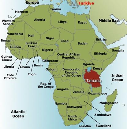 Tanzanya Dünyanın Neresinde Haritada