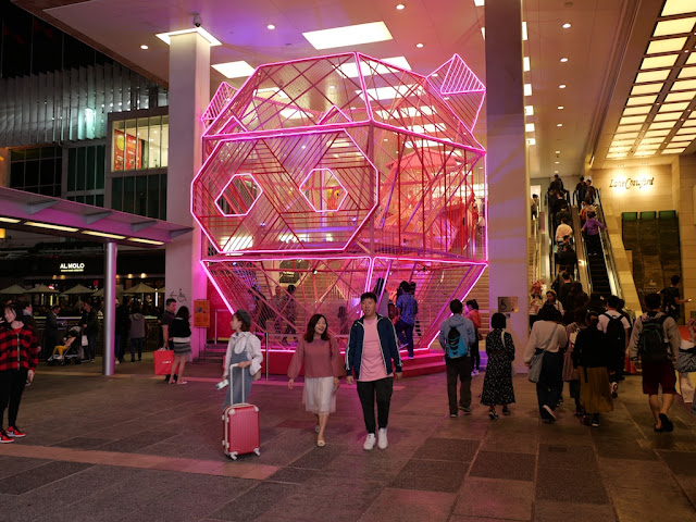 Lunar New Year pig head sculpture lighted up at night at Harbour City