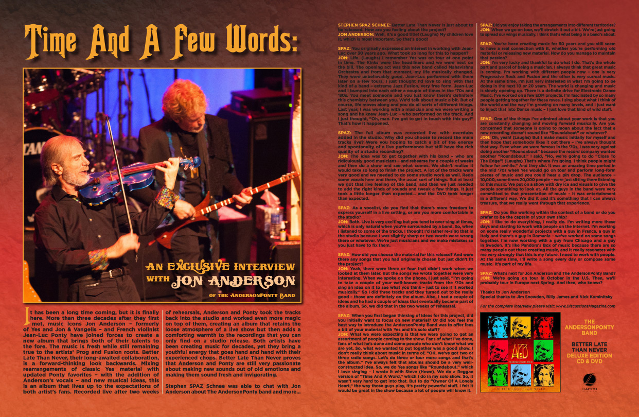 Discussions Magazine Music Blog: JON ANDERSON: The Prog Rock legend