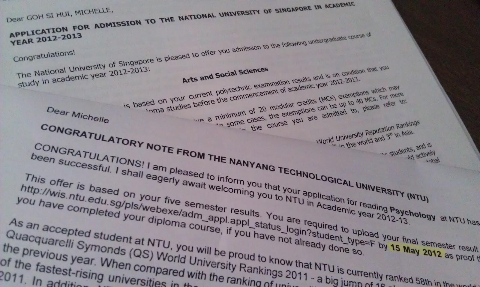 nus online application status