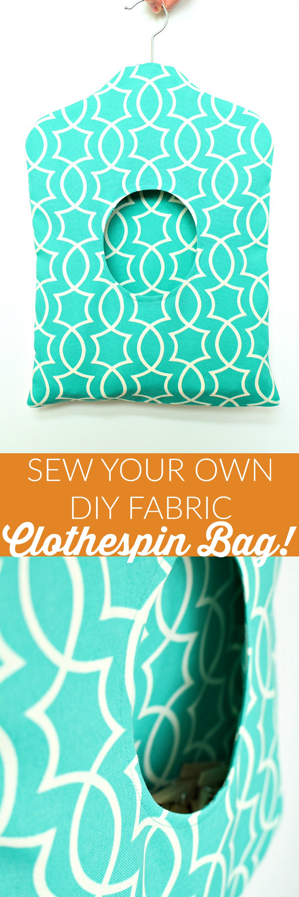 How to sew your own self-lined fabric clothespin holder by @danslelakehouse