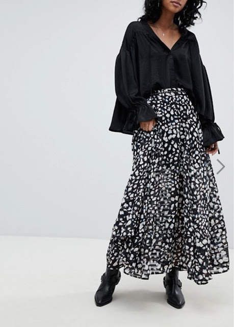 religion maxi skirt in animal print