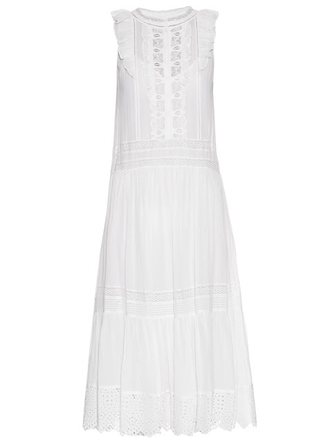 Rebecca Taylor Sleeveless Ruffle Trimmed Cotton Voile Dress
