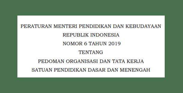 Permendikbud Nomor 6 Tahun 2019 Tentang Pedoman Organisasi dan Tata Kerja Satuan Pendidikan Dasar dan Menengah