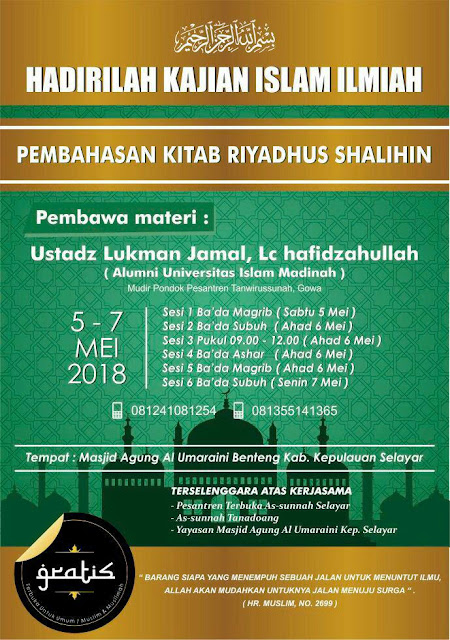 Kajian Kitab Riyadhush-Sholihin Karya Al Imam An Nawawi Rahimahullah