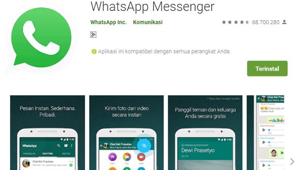 aplikasi whatsapp messenger tersedia di google play