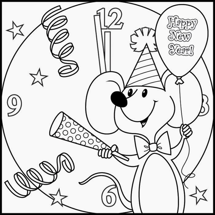 new year coloring pages for preschoolers | The Holiday Site: Happy New Year's Coloring pages