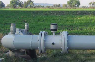 Irrigation flow meter in the field