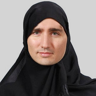 Justin Trudeau under the veil (photomontage)