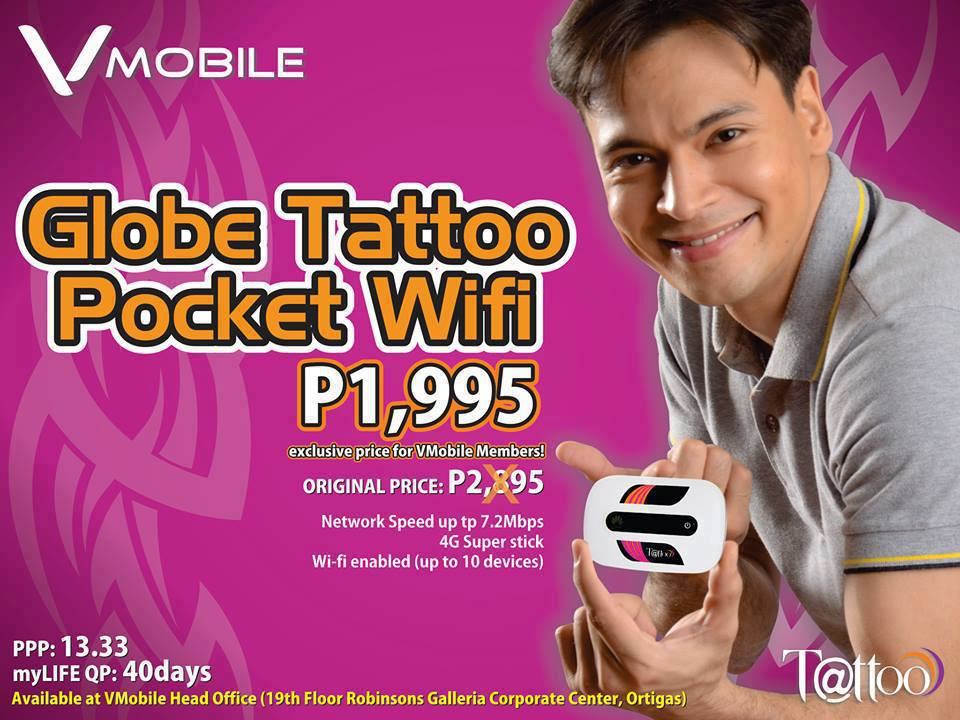 ... globe tattoo pocket wifi 4g complete set with box and globe sim card