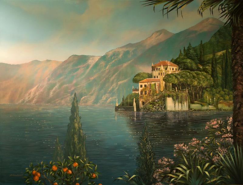 Wandmalerei Mit Blick Auf Den Como See Für Ein Wohnzimmer
