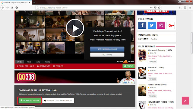 Geser kebawah, kemudian klik Opsi Download Film Ini.