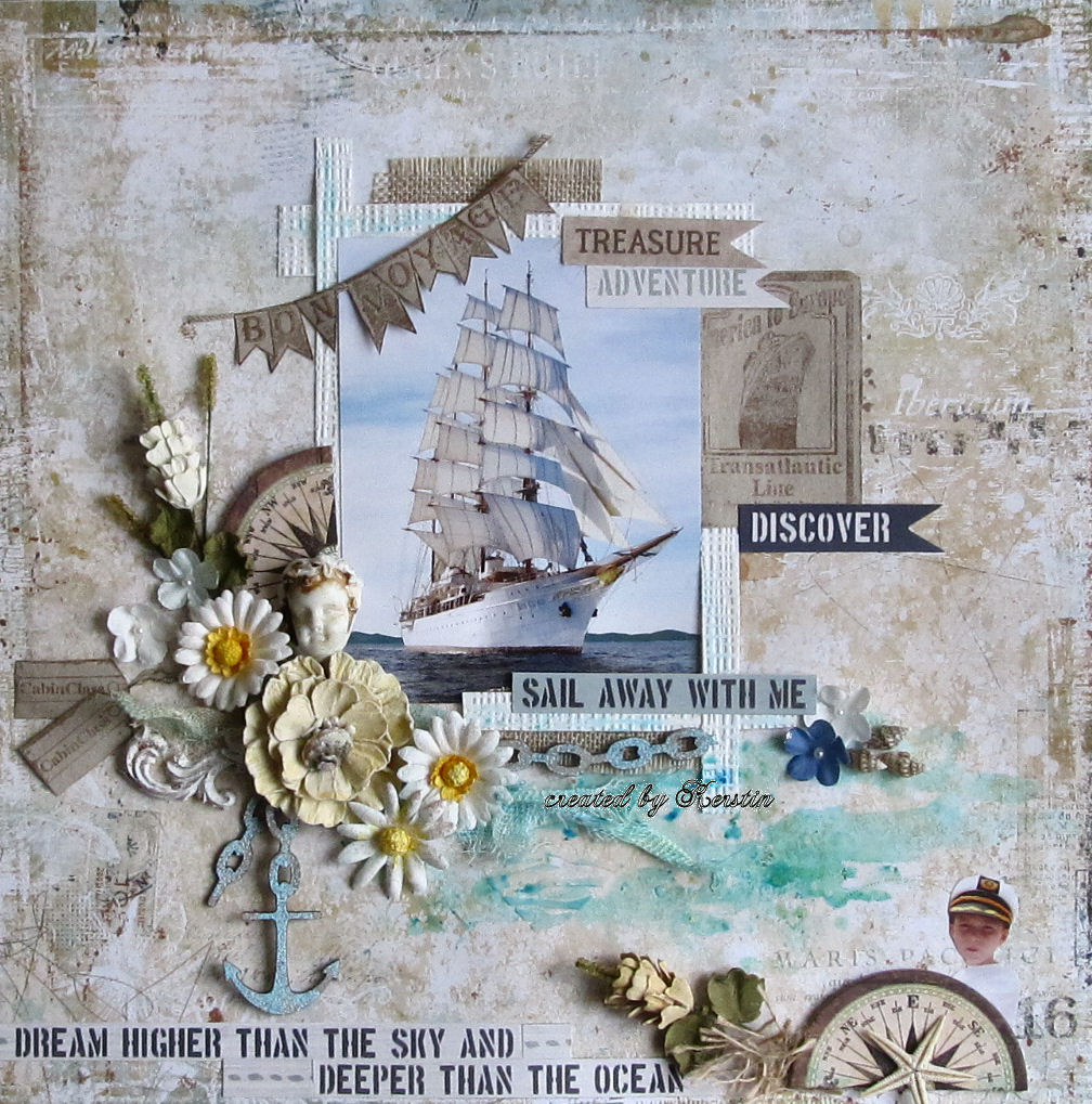 Scraps of Darkness scrapbook kits: Nautical layout w/our July kit, by Kerstin F. Blue Fern Studios Wanderlust.