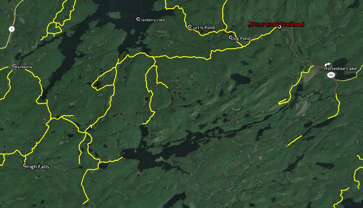 otter brook trail and the region east of cranberry lake map image from google earth