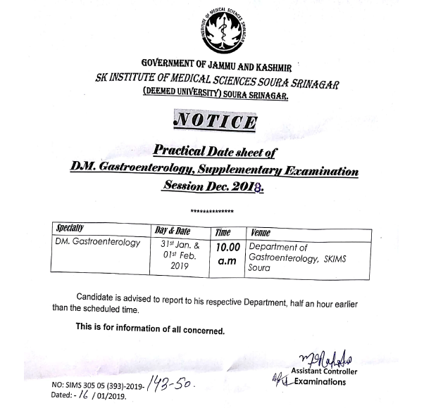 Practical Date Sheet for DM Gastroenterology, Supplementary Examination 2018