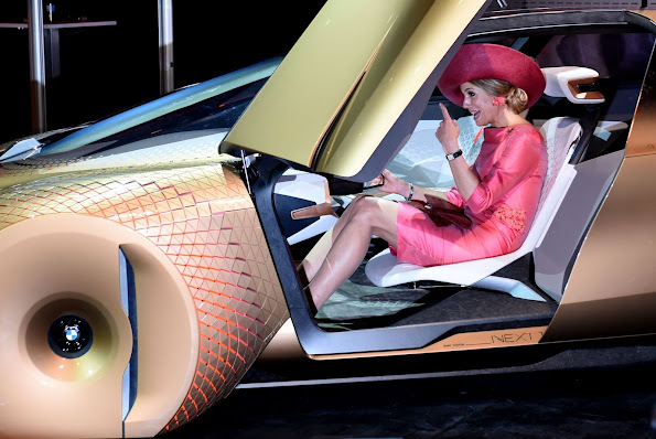 Queen Maxima of Netherlands got behind the wheel of the futuristic concept automobile that was designed by BMW