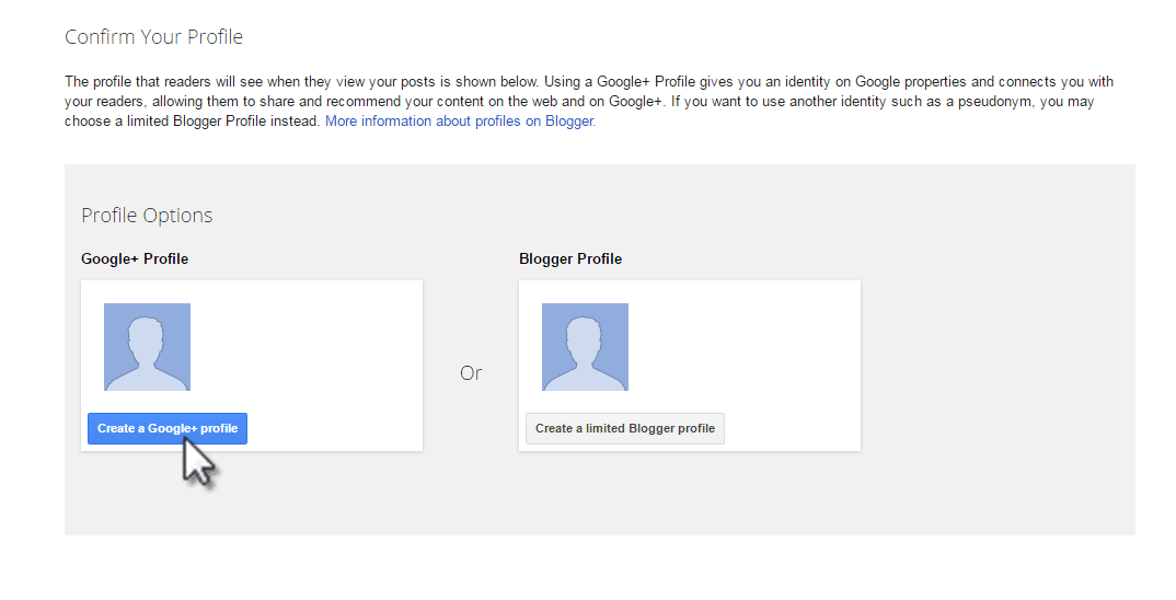 Create a Google Plus profile for your blogger blog