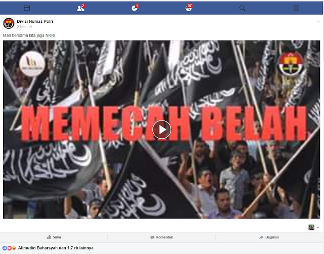 Sengaja Picu Konflik, Humas Polri Rilis Video Tuding Ormas Islam Pemecah Belah