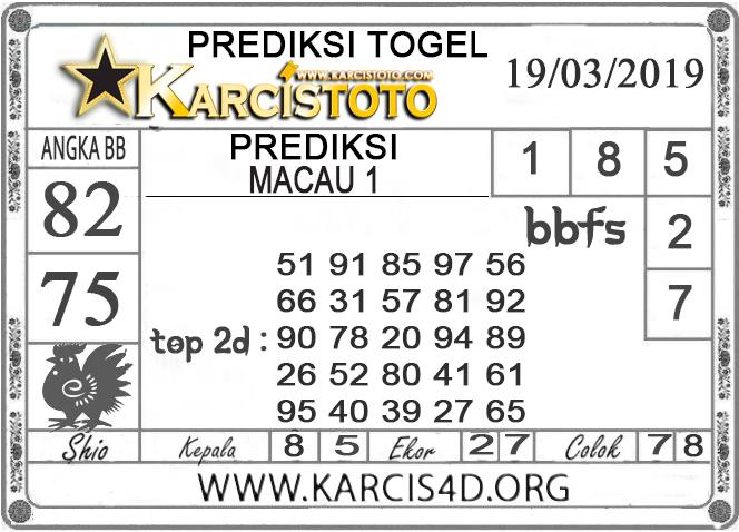 Prediksi Togel MACAU 1 KARCISTOTO 19 MARET 2019