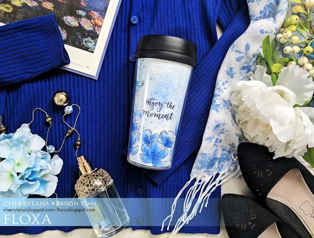 декор кофейного стакана, штампинг, синий цвет, весенний лук, Флокса (Марина), штампы цвет вишни, синий, декор стакана для кофе, кофе с собой, стакан для кофе, термостакан, весенний лук синий, прогулка с кофе