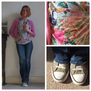 Warehouse T-Shirt, Boden Cardigan, Next Jeans, Converse Trainers
