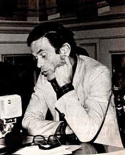 Pasolini taking part in a radio broadcast in Rome in 1975