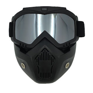 Beon Windproof Motorcycle Chrome Lens Googles with Detachable Mask