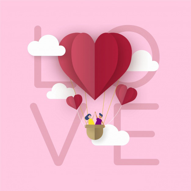 Background for valentine's day in paper style Free Vector