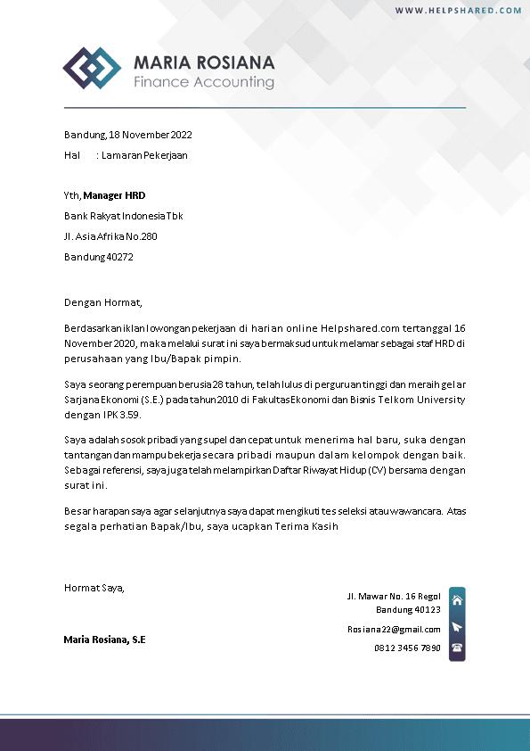 Contoh Surat Lamaran Kerja 18