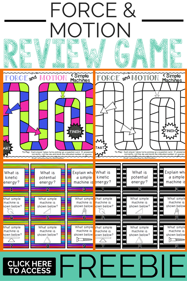 The Classroom Game Nook Force And Motion Freebie Game