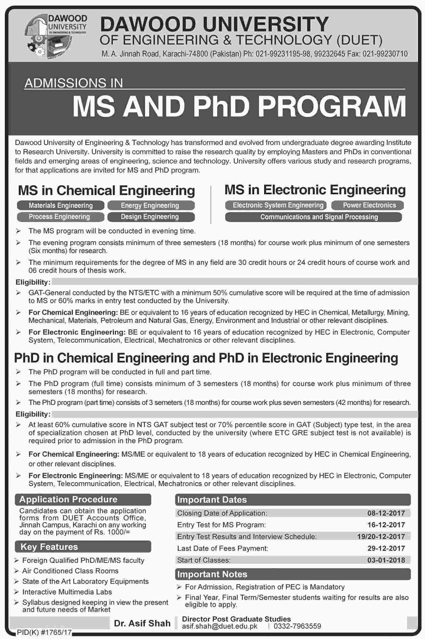 DAWOOD University of Engineering & Technology (DUET) MS/PhD Admissions 2017,msc admissions,karachi admissions,phd admissions,Sindh