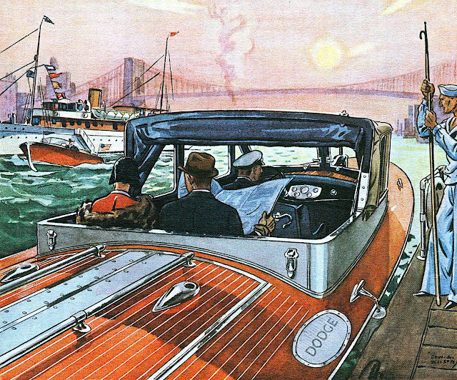 a 1930 powerboat taxi illustration, Dodge motorboat 1930