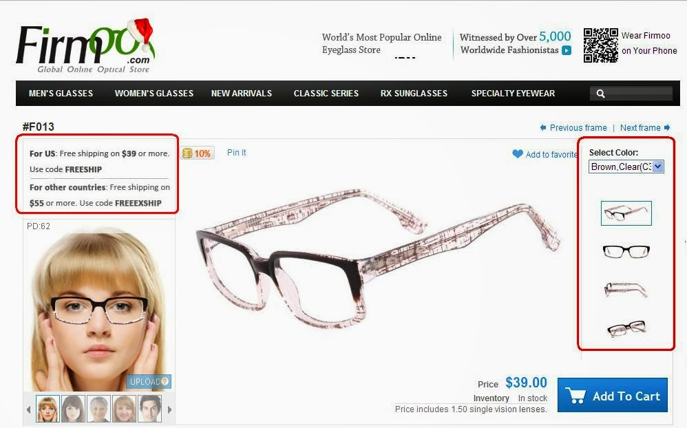 22f99f932b2 Click the glasses you like. The right side shows different colors and views  for your desired product. Scroll down further to see actual pictures.