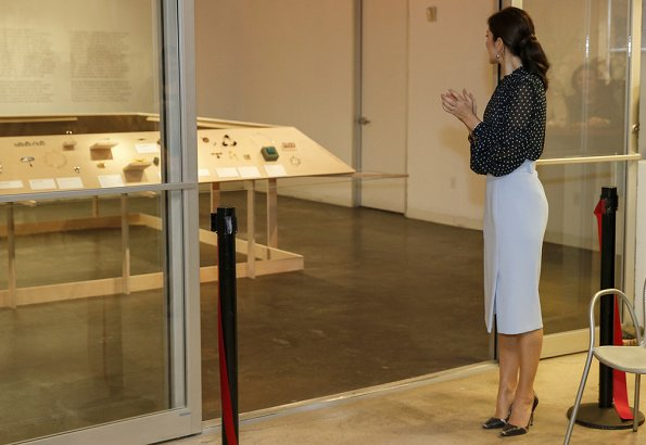 Crown Princess Mary wore Hugo Boss high-waisted pencil skirt in micro fabric with belt and Munthe Aisha blouse