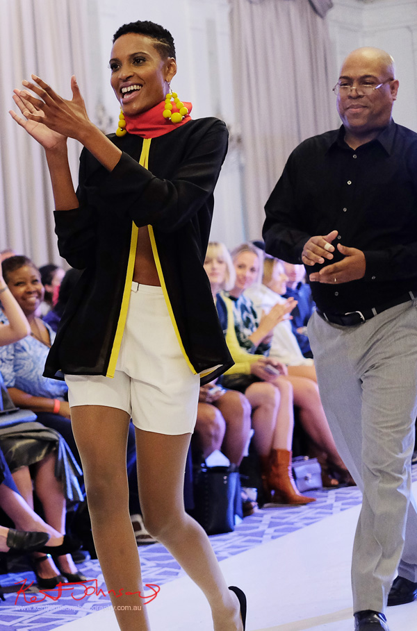 A model and André Bryson on the runway- Guerrilla - NYFW. Photographed for Street Fashion Sydney by Kent Johnson.