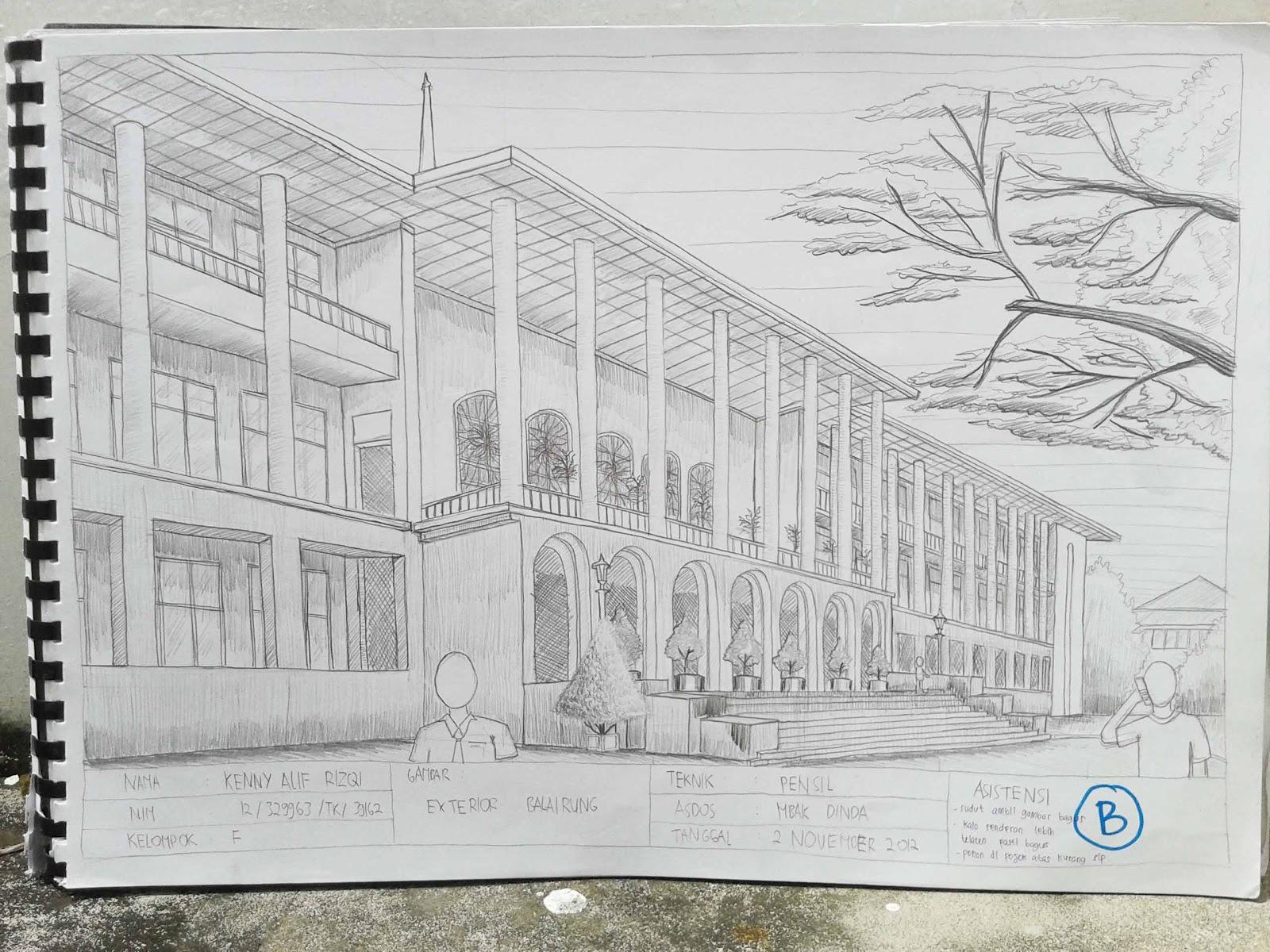 Gambar Sketsa Gedung Perkotaan Sobsketsa