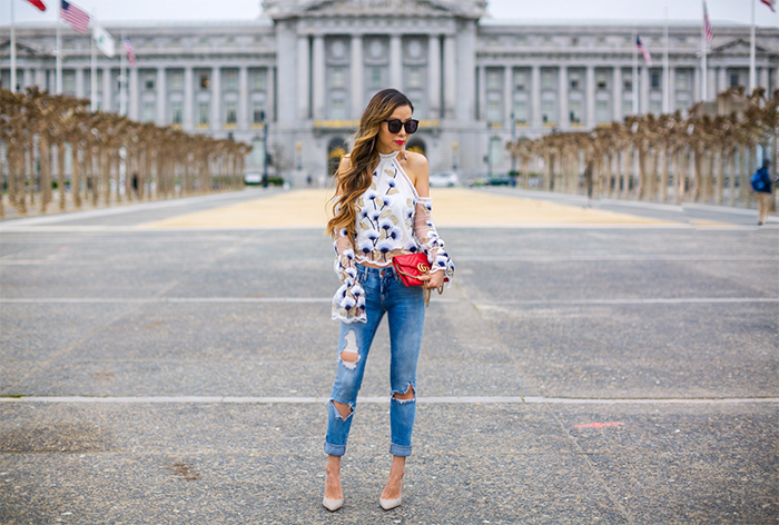 Asilio swan lake top, gucci marmont shoulder bag, blank nyc ripped jeans, schutzl heels, baublebar earrings, karen walker super duper sunglasses, san francisco city hall, san francisco fashion blog, san francisco street style, spring outfit ideas