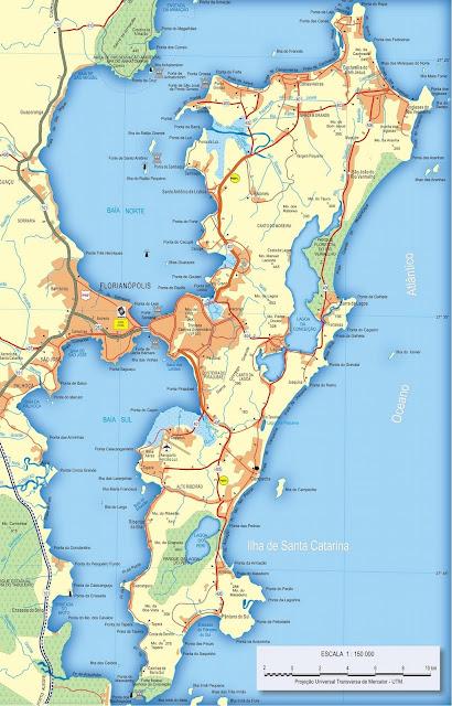 Mapa rodoviário da Ilha de Florianópolis