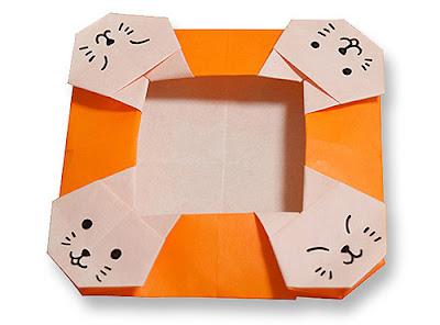 Gấp cái đĩa hình con mèo - how to make an origami cat dish