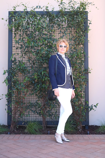 Navy Blue and White Blazer